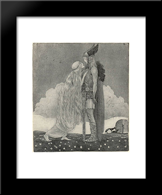 Freyja And Svipdag: Modern Black Framed Art Print by John Bauer