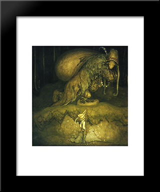 Good Evening, Old Man! The Boy Greeted: Modern Black Framed Art Print by John Bauer