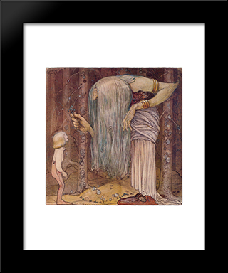 Here Is A Piece Of A Troll Herb Which Nobody Else But Me Can Find: Modern Black Framed Art Print by John Bauer