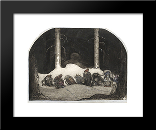In The Christmas Night: Modern Black Framed Art Print by John Bauer