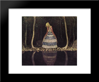 Inge Dark Lake: Modern Black Framed Art Print by John Bauer