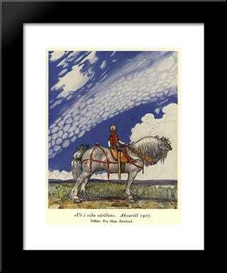 Into The Wide Wide World: Modern Black Framed Art Print by John Bauer