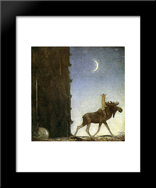 Jbleap The Elk: Modern Black Framed Art Print by John Bauer