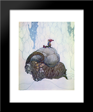 Julbocken: Modern Black Framed Art Print by John Bauer