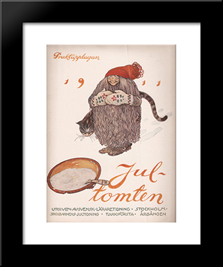 Jultomten: Modern Black Framed Art Print by John Bauer