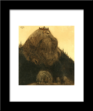King Of The Hill: Modern Black Framed Art Print by John Bauer