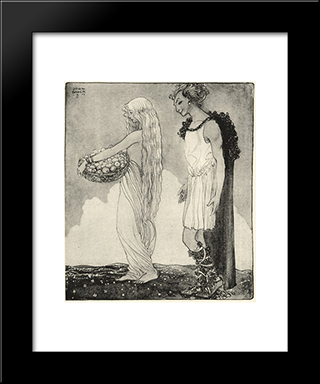 Loki And Idun: Modern Black Framed Art Print by John Bauer