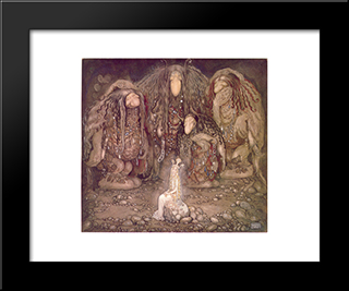 Look At My Sons! You Won'T Find More Beautiful Trolls On This Side Of The Moon: Modern Black Framed Art Print by John Bauer