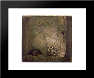 Mother Love: Modern Black Framed Art Print by John Bauer