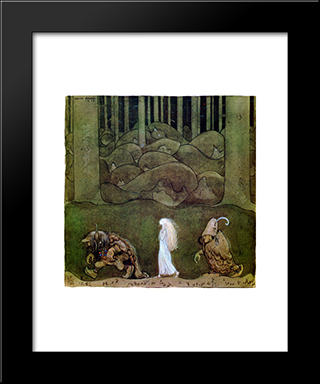 One Summer'S Evening They Went With Bianca Maria Deep Into The Forest: Modern Black Framed Art Print by John Bauer