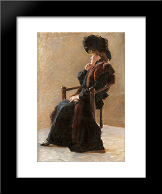 Portrait Of An Elegant Lady: Modern Black Framed Art Print by John Bauer