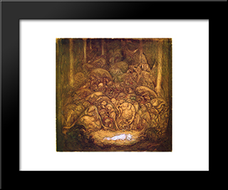Root Trolls: Modern Black Framed Art Print by John Bauer