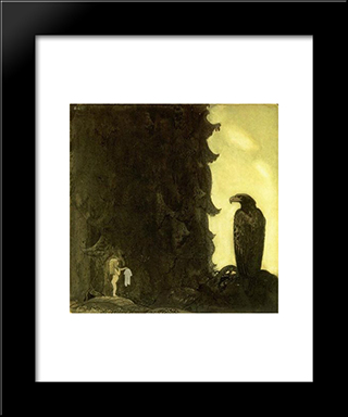 She Gave The Eagle Her Petticoat: Modern Black Framed Art Print by John Bauer