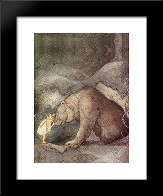 She Kissed The Bear On The Nose: Modern Black Framed Art Print by John Bauer