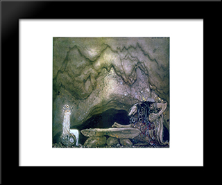 So, How Is Your Appetite, Troll Mother Continued: Modern Black Framed Art Print by John Bauer