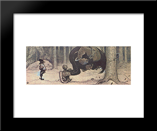Stalo And Kauras: Modern Black Framed Art Print by John Bauer