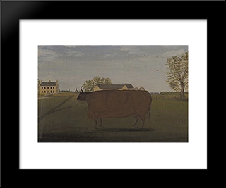 Painting Of A Prize Cow In A Field: Modern Black Framed Art Print by John Bradley