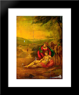 Philanthropy (The Good Samaritan): Modern Black Framed Art Print by John Bradley