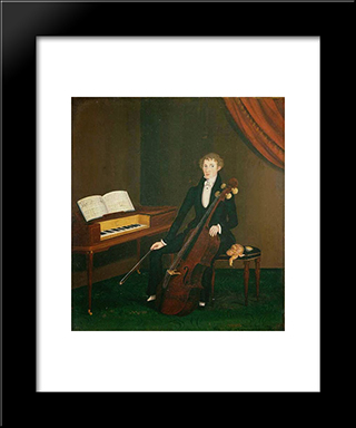 The Cellist: Modern Black Framed Art Print by John Bradley