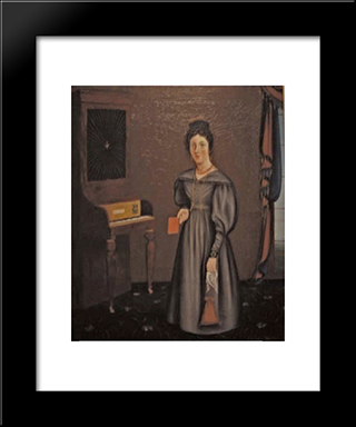 Woman Before A Pianoforte: Modern Black Framed Art Print by John Bradley