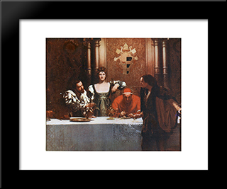 A Glass Of Wine With Caesar Borgia: Modern Black Framed Art Print by John Collier