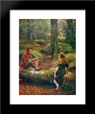 In The Forest Of Arden: Modern Black Framed Art Print by John Collier