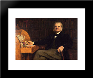 Portrait Of Professor Huxley: Modern Black Framed Art Print by John Collier