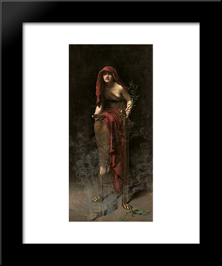 Priestess Of Delphi: Modern Black Framed Art Print by John Collier