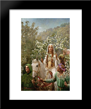 Queen Guinevre'S Maying: Modern Black Framed Art Print by John Collier