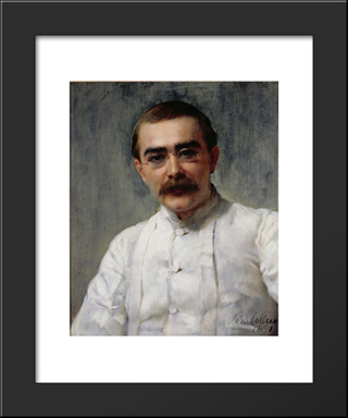 Rudyard Kipling: Modern Black Framed Art Print by John Collier