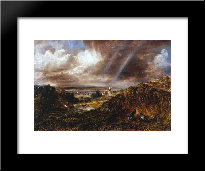 Hampstead Heath With A Rainbow: Modern Black Framed Art Print by John Constable
