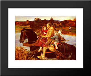 A Dream Of The Past Sir Isumbras At The Ford: Modern Black Framed Art Print by John Everett Millais