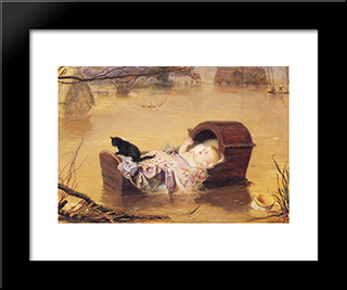 A Flood: Modern Black Framed Art Print by John Everett Millais