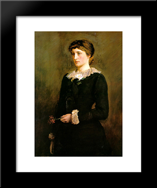 A Jersey Lily, Portrait Of Lillie Langtry: Modern Black Framed Art Print by John Everett Millais