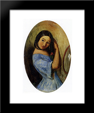 A Young Girl-Combing Her Hair: Modern Black Framed Art Print by John Everett Millais