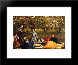 Apple Blossoms: Modern Black Framed Art Print by John Everett Millais