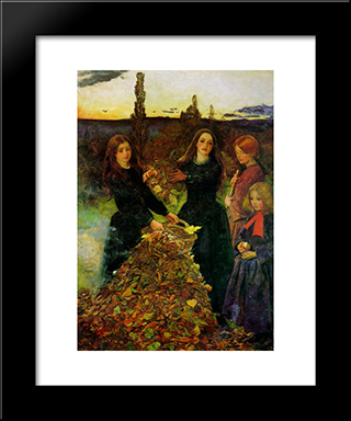 Autumn Leaves: Modern Black Framed Art Print by John Everett Millais