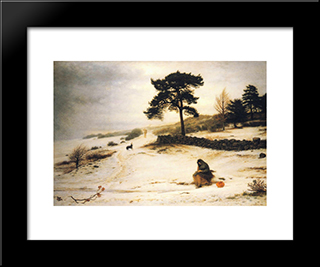 Blow, Blow Thou Winter Wind: Modern Black Framed Art Print by John Everett Millais