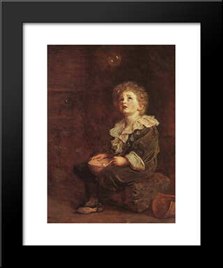 Bubbles: Modern Black Framed Art Print by John Everett Millais