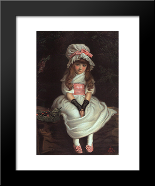 Cherry Ripe: Modern Black Framed Art Print by John Everett Millais
