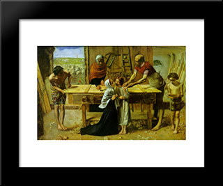 Christ In The House Of His Parents: Modern Black Framed Art Print by John Everett Millais