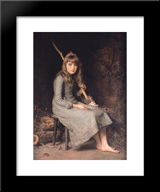 Cinderella: Modern Black Framed Art Print by John Everett Millais