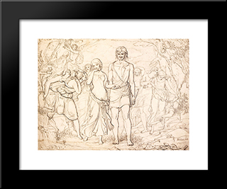 Cymon And Iphigenia, Study: Modern Black Framed Art Print by John Everett Millais