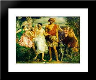 Cymon And Iphigenia: Modern Black Framed Art Print by John Everett Millais
