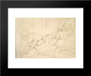 Elgiva Seized Byorder Of Odo, Archbishop Of Canterbury: Modern Black Framed Art Print by John Everett Millais