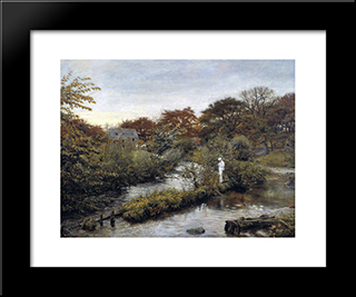 Flowing To The River: Modern Black Framed Art Print by John Everett Millais