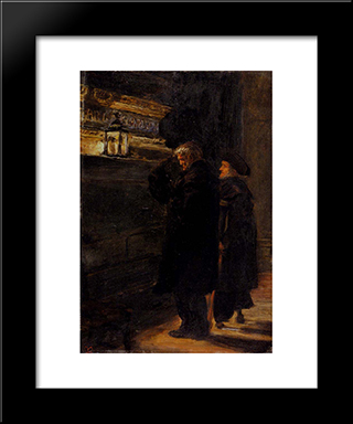 Greenwich Pensioners At The Tomb Of Nelson: Modern Black Framed Art Print by John Everett Millais