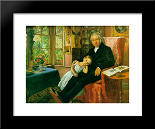 James Wyatt And His Granddaughter Mary: Modern Black Framed Art Print by John Everett Millais