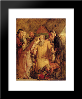 Lear And Cordelia: Modern Black Framed Art Print by John Everett Millais