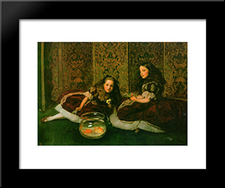 Leisure Hours: Modern Black Framed Art Print by John Everett Millais